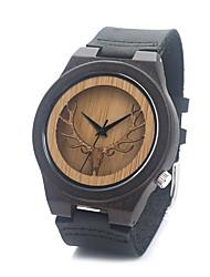 Men's Women's Fashion Watch Quartz / Wood Band Casual Brown Brand