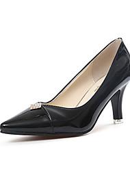 Damen-High Heels-Lässig-PU-Stöckelabsatz-Komfort-Schwarz Rosa Weiß