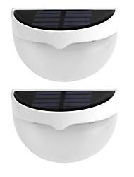 2pcs lumière solaire IP55 étanche à l'eau 6 lampes led mur d'éclairage extérieur de la lampe solaire pour la décoration maison blanc chaud