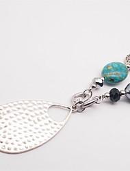 Femme Pendentif de collier Turquoise Cristal Perle imitée Bijoux Perle Cristal Turquoise Pendant Vintage LED bleu Bijoux PourSoirée