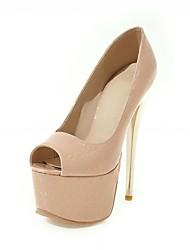 Feminino-Saltos-Conforto Inovador Light Up Shoes-Salto Agulha-Preto Rosa Amêndoa-Sintético Courino Couro Ecológico-Casamento Escritório &