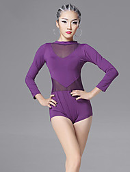 Latin Dance Leotards Women's Training Chinlon Viscose Splicing 1 Piece Long Sleeve Leotard