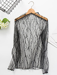 Women's Going out Sexy Simple Spring Summer Blouse,Solid Round Neck Long Sleeve Black Polyester Sheer