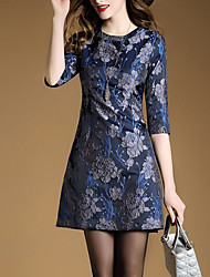 Women's Going out Sophisticated Shift Dress,Jacquard Round Neck Above Knee ½ Length Sleeve Polyester Blue Spring Mid Rise Micro-elastic