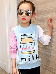 Girl Casual/Daily Print Patchwork Tee,Cotton Spring Fall Long Sleeve Regular