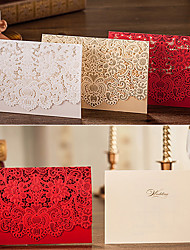 50pcs Gold Red White Laser Cut Luxury Flora Wedding Invitations Card Elegant Lace Envelopes & Seals Favor Wedding Event & Party Supplies