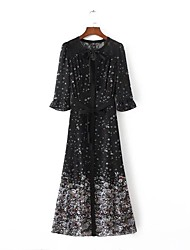 Women's Going out Holiday Vintage Boho Chinoiserie A Line Sheath Chiffon Dress,Floral Cut Out Ruffle Shirt Collar Maxi ¾ SleevePuff