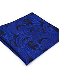 Men's Pocket Square Blue Paisley 100% Silk Business Dress Casual Jacquard Woven For Men