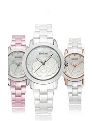 Women's Fashion Watch Wrist watch Quartz Ceramic Band Elegant Luxury White Gold Pink