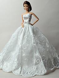 Mariage Robes Pour Poupée Barbie Blanc Imprimé Robes Pour Fille de Jouets DIY
