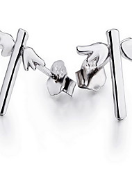Non Stone Stud Earrings Jewelry Women Party Daily Sterling Silver 1 pair White
