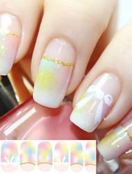 14 Tips/Pcs Pink Bowknot Nail Tips Stickers Glitter Powder