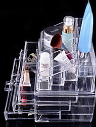 Makeup Storage Transparent 20*12*10 Makeup Cosmetic Organizer Conceal/Lipstick/Eyeshadow/Brushes in One Drawers, Clear, Medium, 2 Piece Set