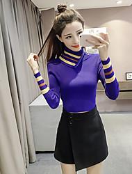 version coréenne de la chemise à col roulé chic zip mince pull rayé à manches longues couleurs mélangées