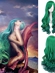 Yuyi the Mermaid Cosoplay Wig Green Long Body Wave Fashion Hairstyle Celebrity Lady Gaga Wear's Hair Heat Resistant Daily Wig