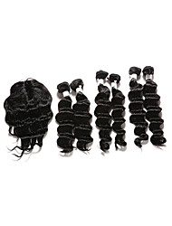 7 Pieces/Lot Deep Hair Human Hair Weaves With Closure Color 1b Natural Black (16inch18inch20inch)