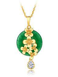 Colares com Pendentes Verde Jade Chapeado Dourado Amor Vintage Euramerican Verde Escuro Jóias ParaCasamento Festa Ocasião Especial