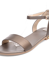 Women's Sandals Spring Summer Fall Other PU Office & Career Dress Casual Low Heel Buckle Black White Gold