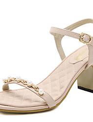 le confort des sandales d'été robe pu gros talon imitation perle