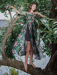 Strandkleid war dünn Stickerei Rundhals böhmisches Kleid real shot