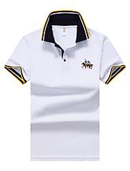 Sports Casual/Daily Beach Simple Street chic Active Summer Polo,Solid Shirt Collar Short Sleeve Cotton Spandex Medium