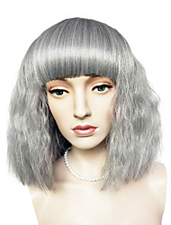 Capless Short Bob Wig Silver Grey Kinky Curly Synthetic Fiber Wig Cosplay Costume Wig