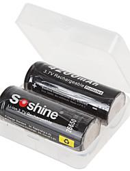 soshine 2pcs lítio recarregável bateria de iões de lítio 26650 3.7v 4200mAh com caixa de bateria