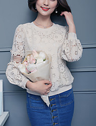 Women's Lace Lace Casual/Daily Spring Fall Loose Thin Blouse Solid Round Neck Long Sleeve Beige Thin