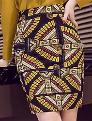 Women's Work Above Knee Skirts,Sexy Boho Bodycon Split Print Spring Summer