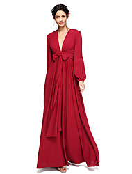 LAN TING BRIDE Floor-length V-neck Bridesmaid Dress - Elegant Open Back Long Sleeve Chiffon