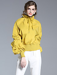 FRMZ Women's Casual/Daily Simple Summer ShirtSolid Round Neck Long Sleeve Yellow Polyester