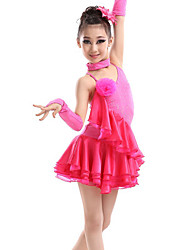 Latin Dance Dresses Children's Performance Milk Fiber Crystals/Rhinestones 4 Pieces Sleeveless High Gloves Dress Neckwear Dance Costume