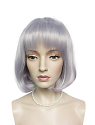 Short BOB Wig Light Purple Synthetic Fiber Wig Hairstyle With Air Bangs Costume Cosplay Wig