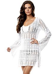 Women's White Lacy Crochet Summer Beach Tunic