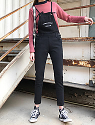 Sign Korea retro loose black denim overalls suspenders piece pants letter embroidery female students