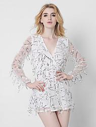 Women's Sexy Loose DressSolid V Neck Mini Long Sleeve White Beige Black (Lined Pants Not Skirt)