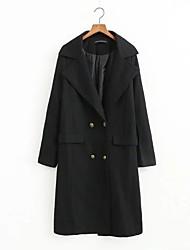 Manteau Femme,Couleur Pleine Sortie simple Manche Longues Col de Chemise Repasser à l'envers Coton Court Printemps
