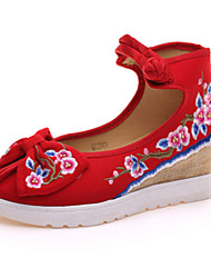 Women's Oxfords Spring Summer Fall Winter Comfort Novelty Embroidered Shoes Canvas Outdoor Casual Athletic Flat Heel Buckle FlowerBlack