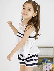 Girl's Cotton Fashion And Lovely Vertical Bowknot Sleeveless T-shirt Vest  Striped Shorts Two-piece Outfit