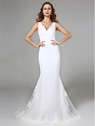 Sereia / trompete v-neck varredura / escova vestido de noiva de renda de trem com renda por lan ting bride®