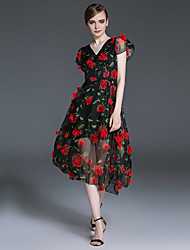 Women's Going out Holiday Simple Loose Dress,Floral V Neck Knee-length Short Sleeve Polyester Black Spring Summer Mid Rise Inelastic