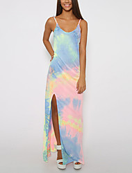 Women's Casual/Daily Party/Cocktail Holiday Sexy Simple Street chic Loose Shift Dress,Print Rainbow Strap Maxi Sleeveless Multi-color