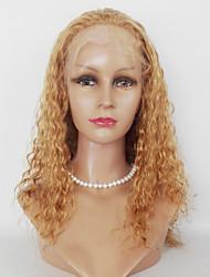Mujer Pelucas de Cabello Natural Cabello humano Encaje Frontal 130% Densidad Rizado rizado Peluca Rubio fresa Medio Largo Entradas