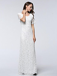 Women's Plus Size Formal Vintage Lace Swing Dress,Solid Lace Round Neck Maxi Short Sleeve Polyester White Black Spring Summer Mid Rise