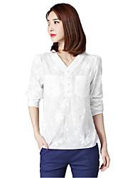 unterzeichnen gestickt langärmeligen weißen Baumwollhemd T-Shirt Frauen&# 39; s Frühling literarisch lose große Yards Shirt Spitzen