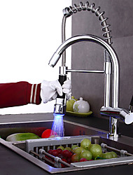 Contemporary Chrome Finish Color Changing LED Light Pullout Spray Deck Mounted Kitchen Fauce