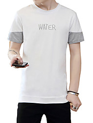 Men's Plus Size Casual/Daily Beach Simple Cute Street chic Summer T-shirt,Solid Letter Round Neck Short Sleeve Pink Gray Green Cotton