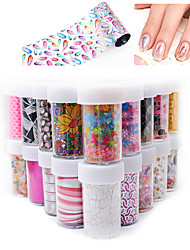 1Pcs New Listing Manicure Star Stickers Laser Thermal Transfer Metal Nail Decals 32 Optional
