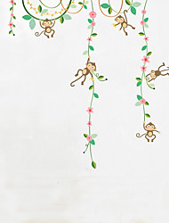 Wall Stickers Wall Decals Style Play Monkey Flower Vine PVC Wall Stickers
