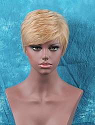 Fluffy Short Straight Side Bang Human Hair Wig